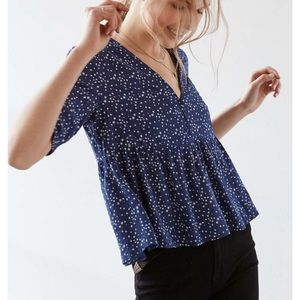 Urban Outfitters • Star Button Front Peplum Top